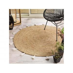 Štýlový okrúhly koberec z jutoviny so strapcami