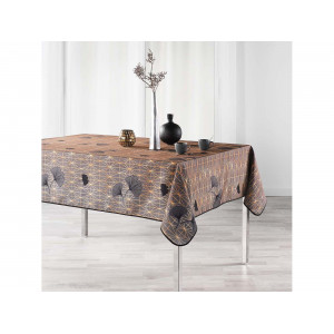 Nádherný hnedý vzorovaný obrus na stôl 150 x 240 cm