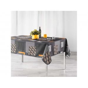 Moderný sivo žltý vzorovaný obrus na stôl 150 x 240 cm