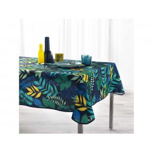 Originálny navy blue obrus na stôl s farebnými listami 150 x 240 cm