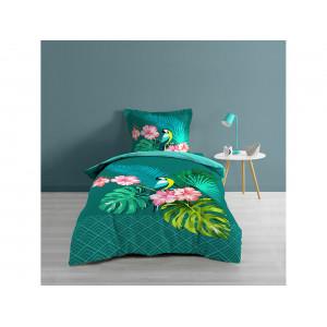 Luxusné tyrkysovo zelené bavlnené posteľné obliečky EXOTIC DREAM 140 x 200 cm