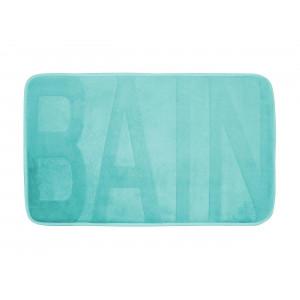 Krásny mentolový koberček do kúpeľne s nápiso BAIN 45 x 75 cm