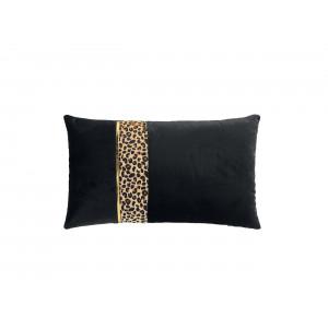 Luxusný čierny dekoračný vankúš s leopardím motívom 30 x 50 cm