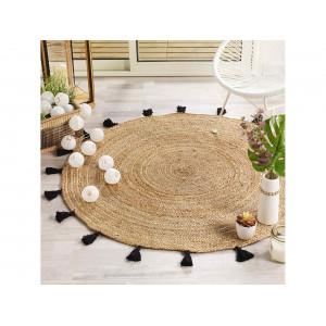 Okrúhly jutový koberec s čiernymi strapcami