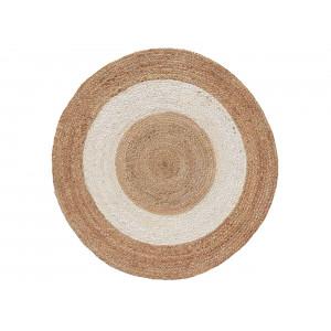 Nadčasový bielo hnedý okrúhly koberec z jutoviny