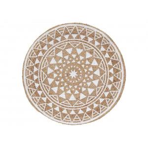 Krásny hnedo biely jutový okrúhly koberec kolekcia BOHEMIA