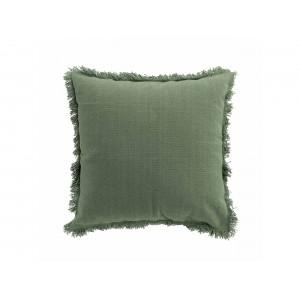 Originálny jednofarebný zelený vankúš so strapcami v boho štýle 45 x 45 cm