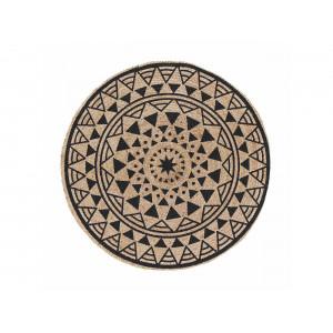 Okrúhly koberec z jutoviny v etno designe