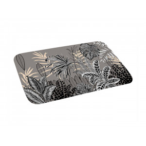 Originálny sivý kúpeľňový koberček s motívom paliem 45 x 75 cm