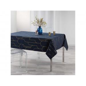 Krásny tmavo modrý obrus s módnym zlatým vzorom 150 x 240 cm