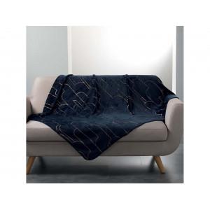 Teplá tmavo deka so zlatým vzorom 125 x 150 cm