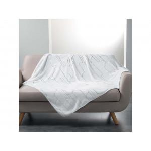 Biela deka v škandinávskom štýle so strieborným vzorom 125 x 150 cm