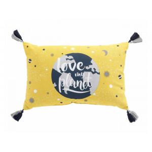 Krásny detský žltý dekoračný vankúš LOVE MY PLANET 30 x 50 cm