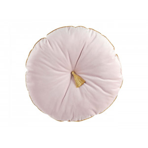 Okrúhly ružový dekoračný vankúš so zlatým lemovaním a strapcom 38 cm