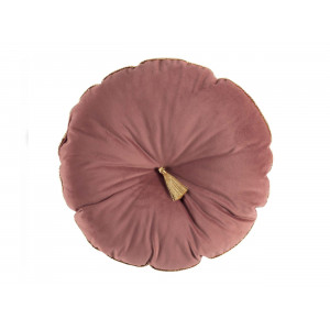 Brilantný staro ružový okrúhly dekoračný vankúš so zlatým lemovaním 38 cm