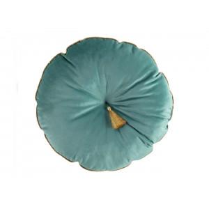 Luxusný zeleno modrý dekoračný vankúš so zlatým lemom a strapcom 38 cm