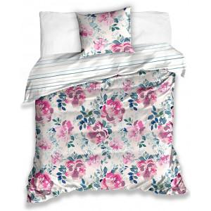 Obojstranné bavlnené posteľné obliečky s kvetovaným vintage motívom