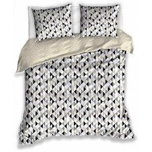 Obojstranné béžové bavlnené posteľné obliečky s geometrickými tvarmi