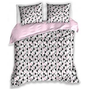 Ružové bavlnené obojstarnné posteľné obliečky so škandinávskym vzorom