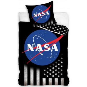 Bavlnené čierne posteľné obliečky v módnom designe NASA
