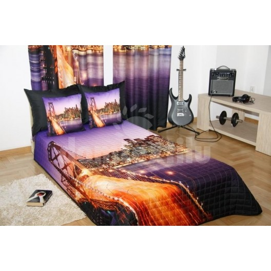 Prehozy na posteľ fialovej farby so vzorom veľkomesto Manhattan