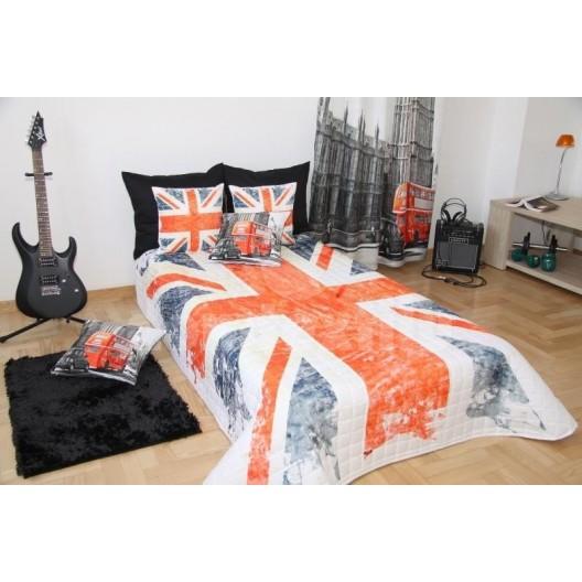 Prehoz na posteľ modro červenej farby s motívom vlajky Veľkej Británie