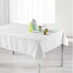 Nadčasový biely obrus na stôl s decentným vzorom 140 x 250 cm