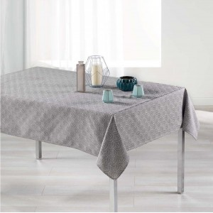Štýlový sivý obrus na stôl s bielym vzorom 140 x 250 cm