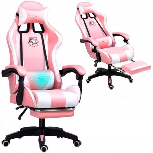 Pohodlné hracie kreslo bielo ružovej  farby