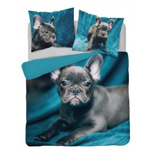 Štýlové tyrkysovo modré obojstranné bavlnené posteľné obliečky