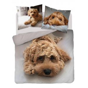 Krásne hnedé obojstaranné posteľné obliečky s motívom psíka