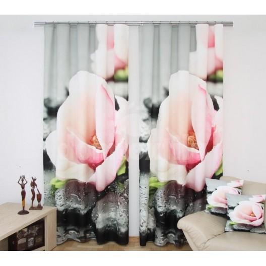 Záves - Ružové kvety