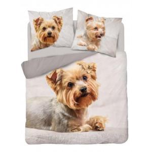 Roztomilé obojstranné béžové bavlnené posteľné obliečky s motívom psa yorkshire