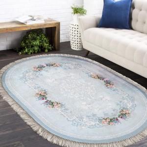 Oválny protišmykový koberec v modrej farbe