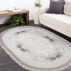 Oválny protišmykový koberec v béžovej farbe