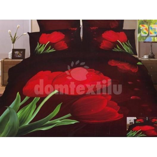 Posteľné obliečky červené kvety