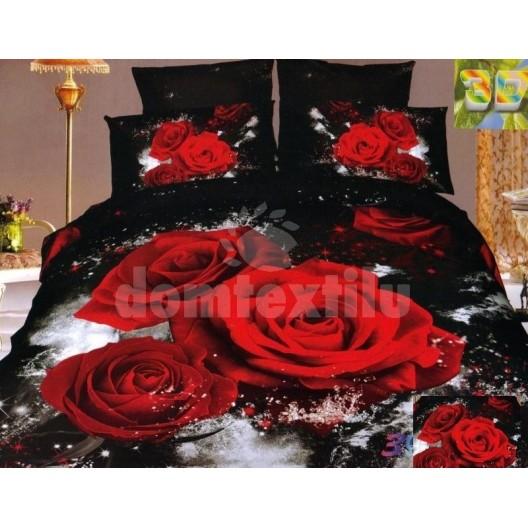 Posteľné obliečky kvetové červené