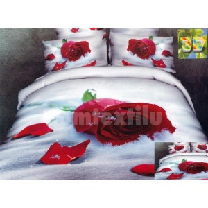 Posteľné obliečky bielej farby s motívom červenej ruže
