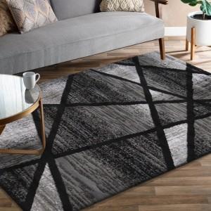 Moderný sivo čierny koberec s abstraktným vzorom