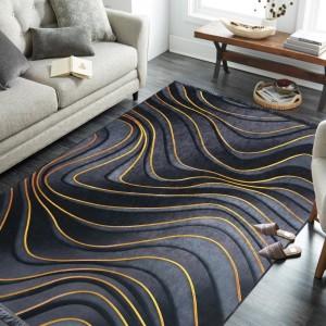 Exkluzívny sivo čierny protišmykový koberec so zlatým vzorom