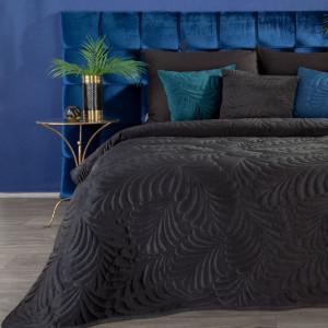 Fenomenálny zamatovo čierny prehoz na posteľ s motívom listov