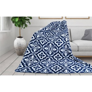 Luxusná hebká modro biela deka s ornamentom