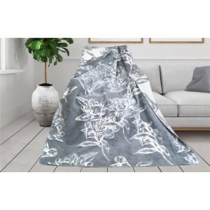 Nadčasová kvalitná sivá deka s potlačou kvetov