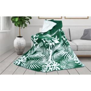 Kvalitná zeleno biela deka s motívom listov kolekcia GLAMOUR