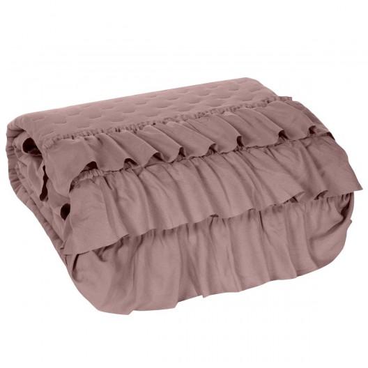 Francúzky ružový prehoz na posteľ s volánmi
