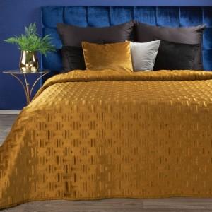 Luxusný zlato žltý zamatový prehoz na posteľ
