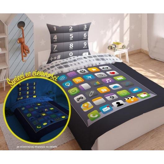 Originálne detské svietiace posteľné obliečky s motívom telefónu