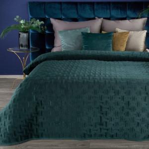 Tmavo tyrkysový luxusný jednofarebný zamatový prehoz