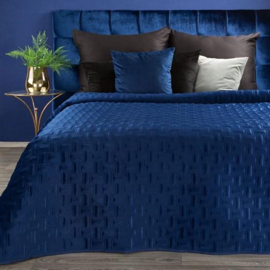 Fenomenálny zamatový modrý prehoz na posteľ