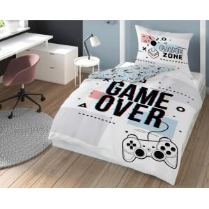 Originálne biele obojstranné posteľné obliečky s motívom GAME